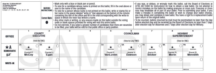 Sampe ballot for the Sept. 10, 2015 Bethlehem Democratic primary ballot from the Albany County Board of Elections