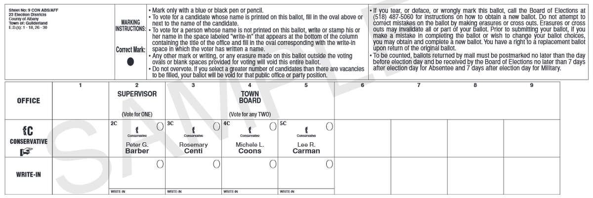 Sample of the Guilderland Conservative ballot for Sept. 10, 2015 primary election from the Albany County Board of Elections.