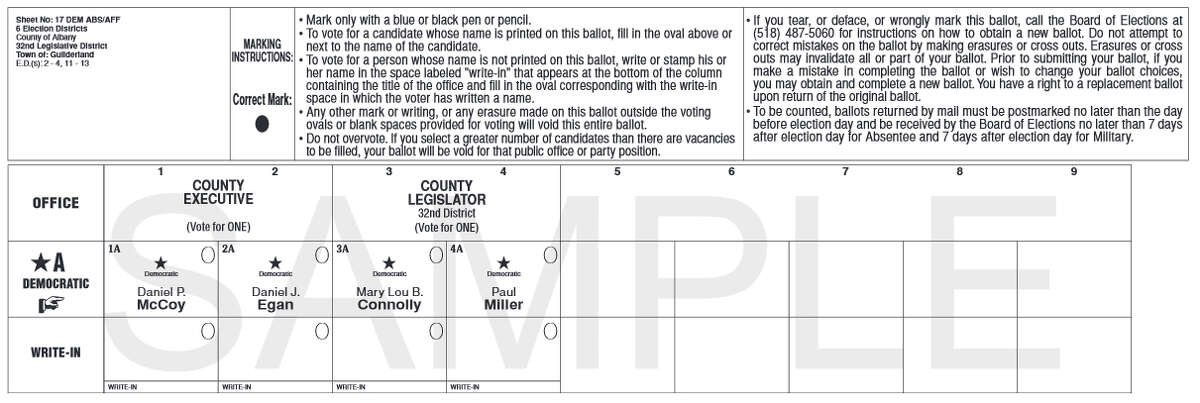 Sample of the Guilderland Democratic ballot for Sept. 10, 2015 primary election from the Albany County Board of Elections.