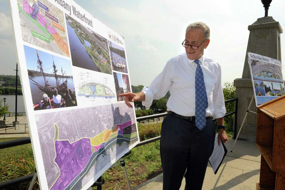 Sen. Chuck Schumer looks over the proposed waterfront improvements before giving his comments during a news conference on Tuesday, Sept. 8, 2015, at the Corning Preserve in Albany, N.Y. Sen. Schumer is proposing federal funding to enhance city recreation areas like the Corning Preserve. (Cindy Schultz / Times Union)