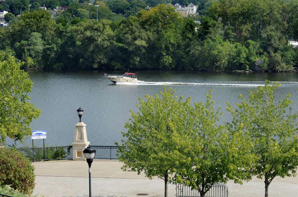 A motor boat cruises past the Jenning's Landing on Tuesday, Sept. 8, 2015, at the Corning Preserve in Albany, N.Y. Sen. Chuck Schumer is proposing funding to enhance city recreation areas like the Corning Preserve. (Cindy Schultz / Times Union)