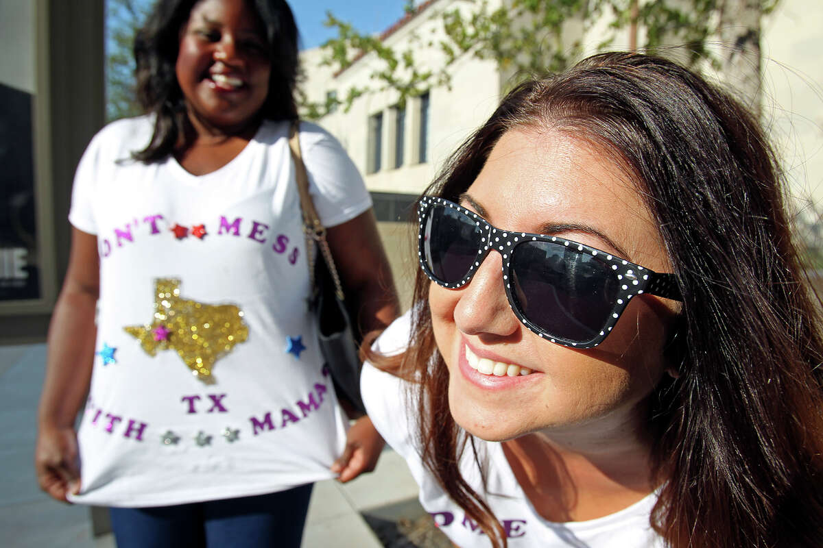 Stefanie Parra sports fancy sunglasses as makes the scene with her friend Aiyana Anderson as registrants arrive to sign up for the Price is Right show at the Tobin Center on September 8, 2015.