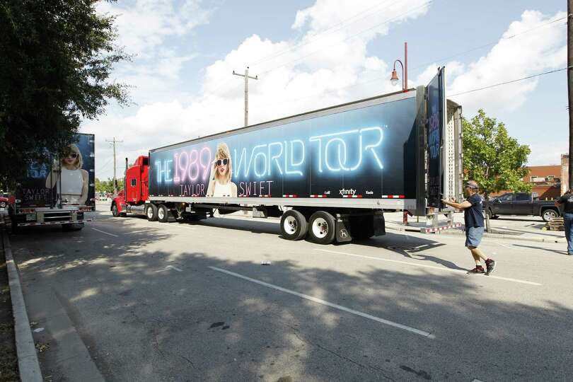 Taylor Swift semi trucks were backed in to unload equipment at Minute ...