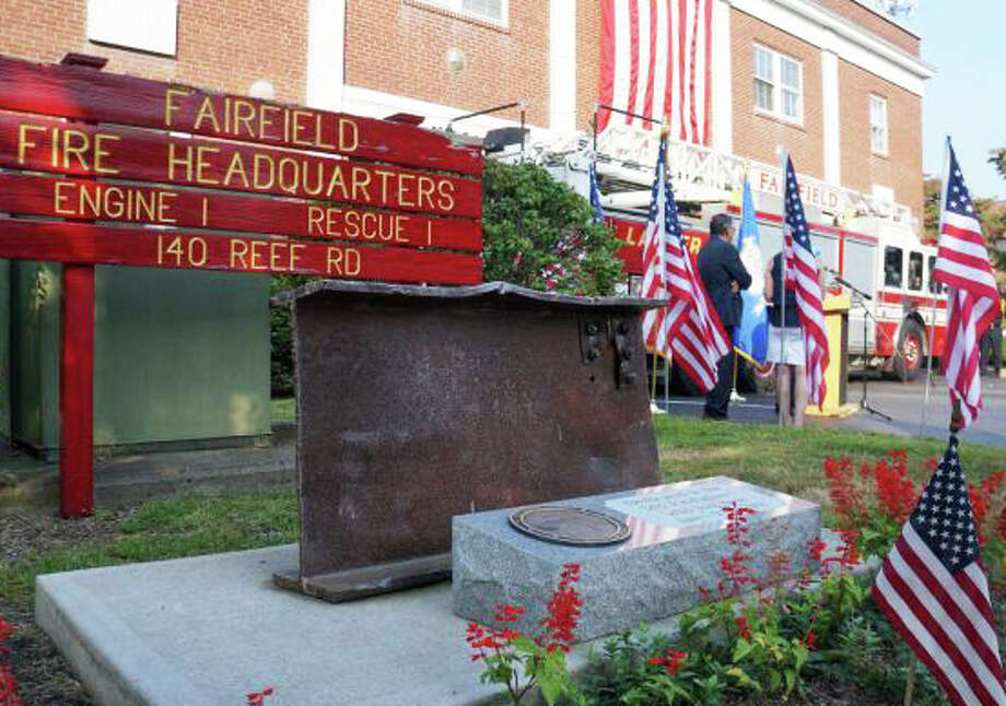 The memorial to victims of the Sept. 11, 2001, terrorist attacks -- which includes part of a beam from the World Trade Center -- will be a focal point of the Friday remembrance at Fire Department headquarters. Photo: File Photo / File Photo / Fairfield Citizen