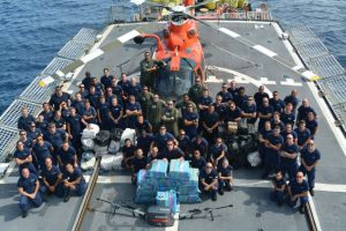 The crew of the Coast Guard Cutter Seneca, homeported in Boston, is shown while underway in the Eastern Pacific in August 2015. During the deployment, the Seneca crew interdicted five vessels resulting in the apprehension of 15 suspected narcotics traffickers, and approximately 3.5 tons of cocaine with a street value of nearly $63 million.