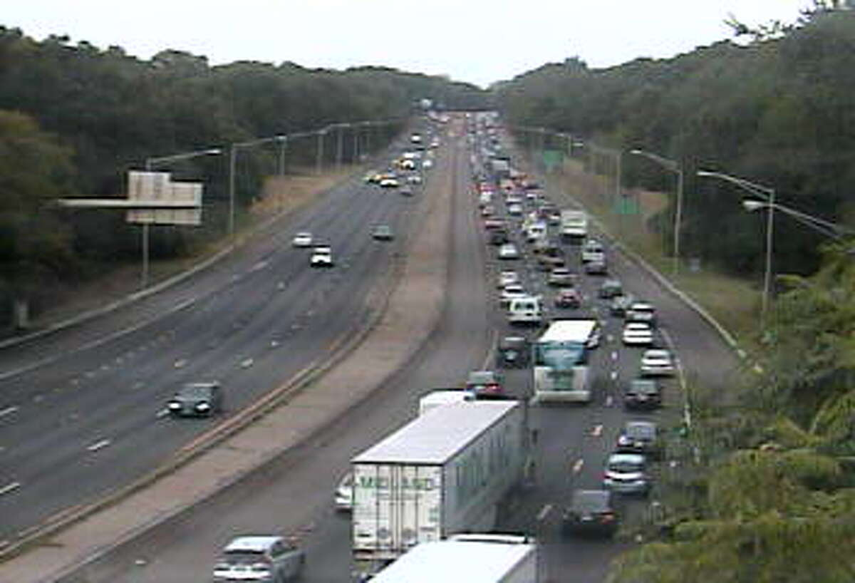 A disabled tanker truck has caused big delays on southbound I-95 in Westport on Wednesday, Sept. 9, 2015.