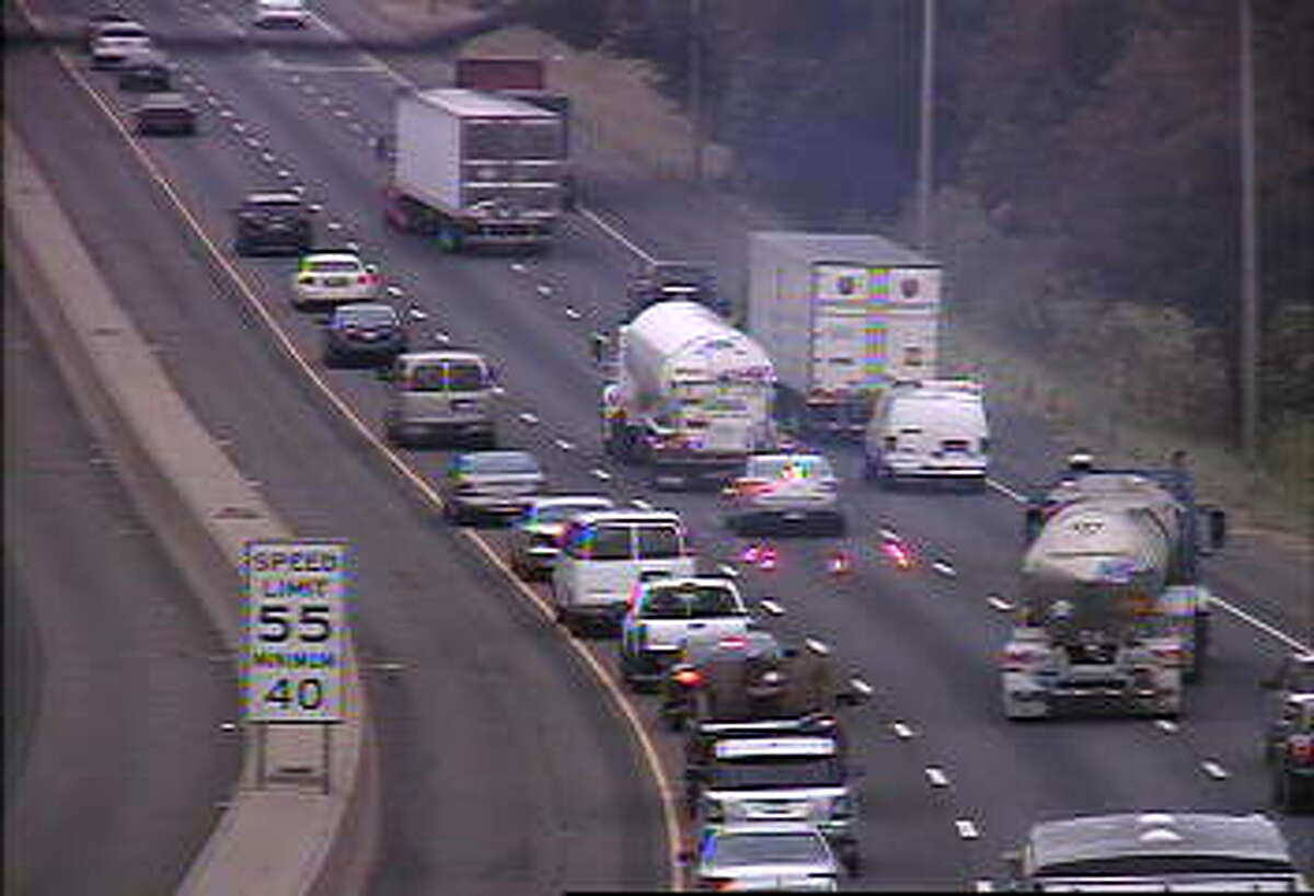 A disabled tanker truck has taken out the center lane on southbound I-95 in Westport on Wednesday, Sept. 9, 2015.