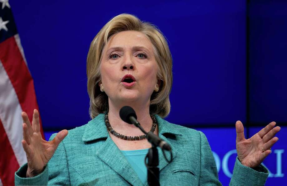 Democratic presidential candidate Hillary Rodham Clinton speaks at the Brookings Institution in Washington, Wednesday, Sept. 9, 2015, about the Iran nuclear agreement and other topics. Clinton is making the case for the international agreement to curb Iran's nuclear ambitions as Congress opens debate on the accord. Photo: Carolyn Kaster, AP / AP