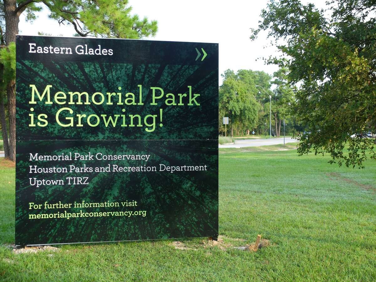 A new sign promises the start of the first project of the Memorial Park master plan approved by City Council in April.