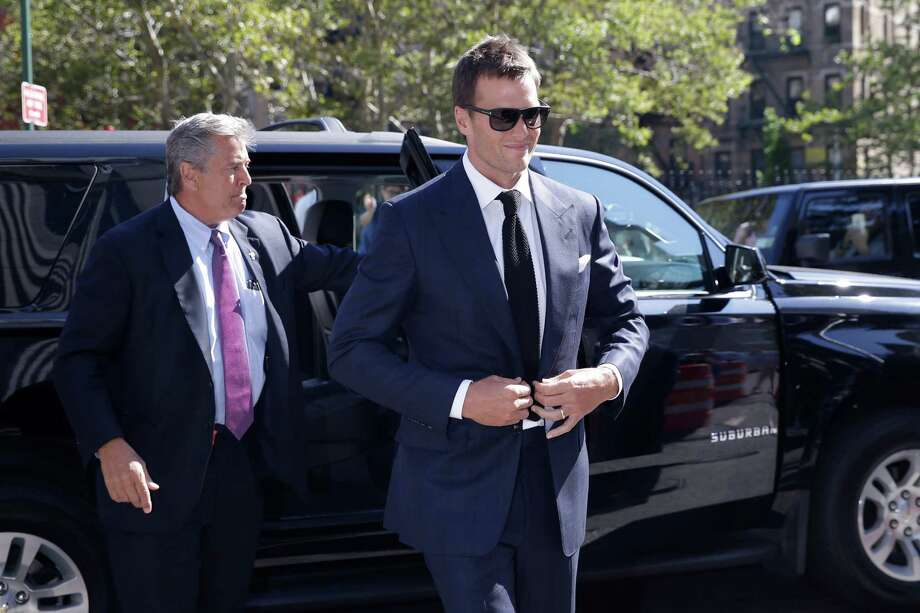 Quarterback Tom Brady arrives at federal court, Wednesday, Aug. 12, in New York. Photo: Mary Altaffer, Associated Press / AP
