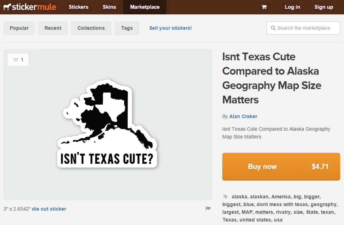 This sticker for sale on Stickermule is pretty clever, but people across the globe still know that Texas is the king of big.