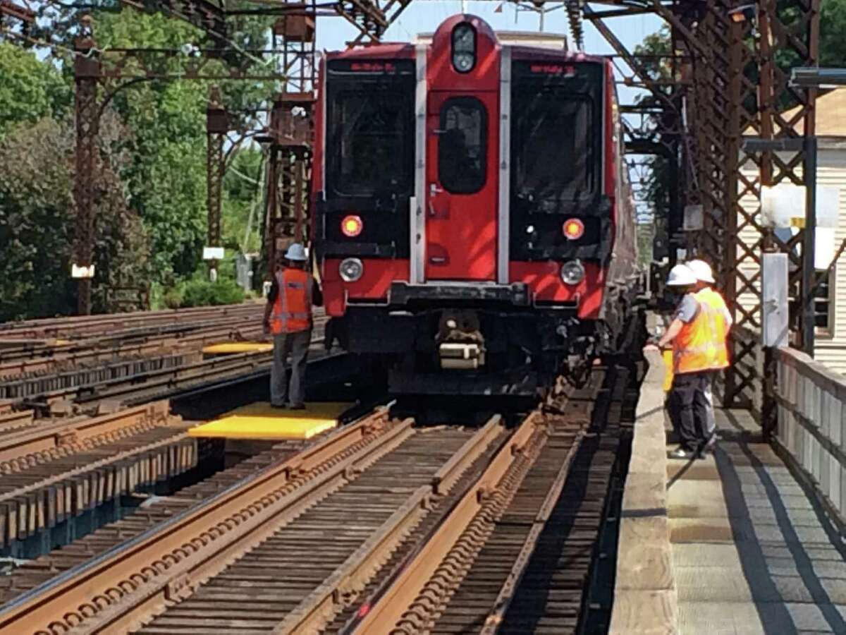 A man was struck and killed by a New Haven-bound Metro North train on the tracks just east of the station in Westport, Conn. on Wednesday Sept. 9, 2015. The train that struck the man at 11:20 a.m. is being held at the station during the investigation. It had left Grand Central Terminal at 10:04, and was due in New Haven at 12:10 p.m.