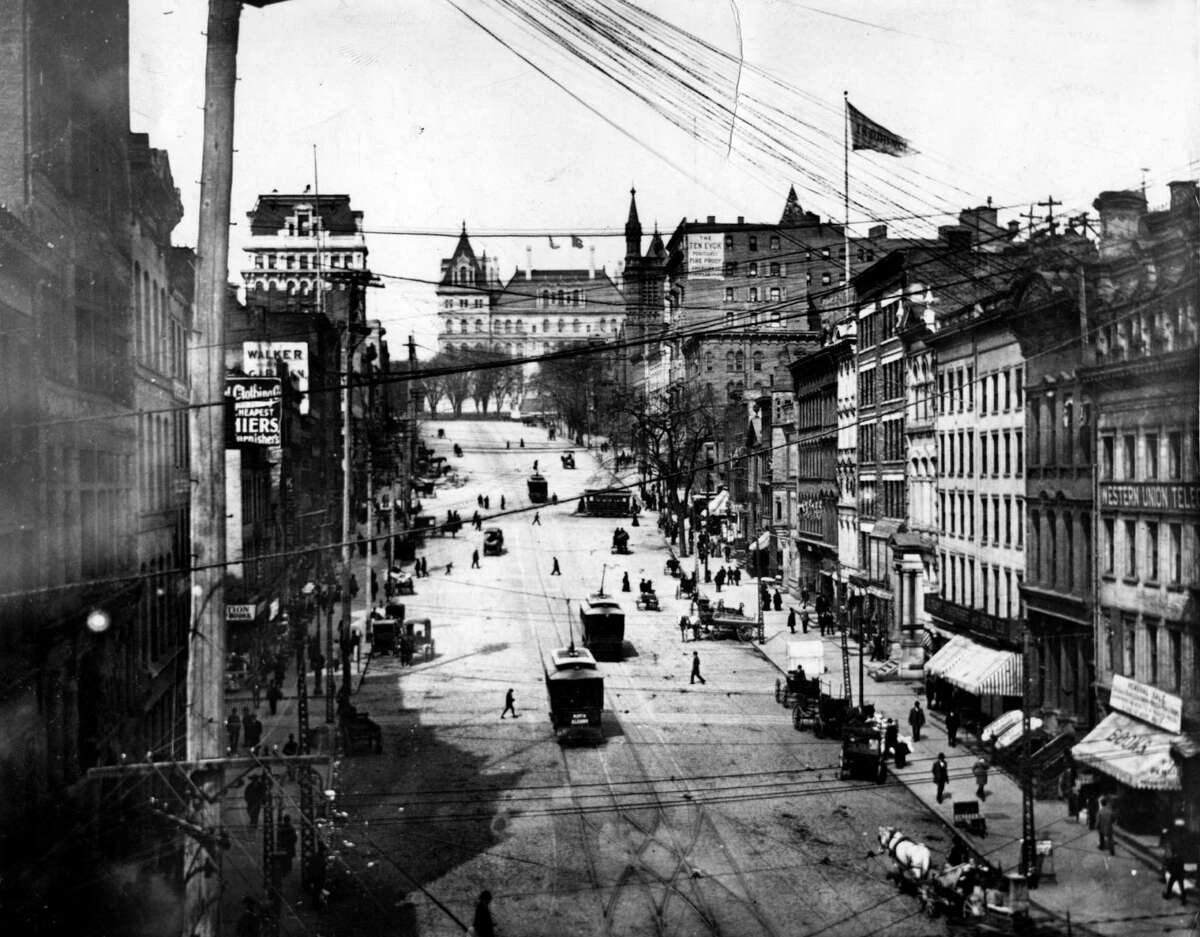 State Street looking east toward the Capitol, undated late 1800s to early 1900s in Albany, N.Y. (Times Union archive)