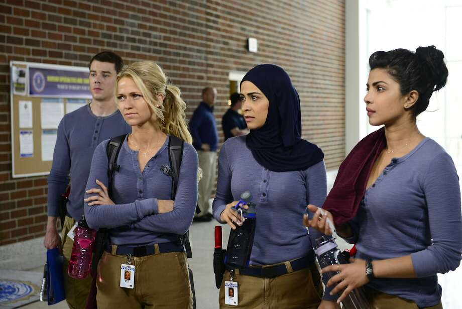 "In this image released by ABC,  Brian J. Smith, from left, Johanna Braddy, Yasmine Al Massri and Priyanka Chopra appear in a scene from ""Quantico,"" premiering Sept. 27. ( Photo: Guy D'Alema, Associated Press"