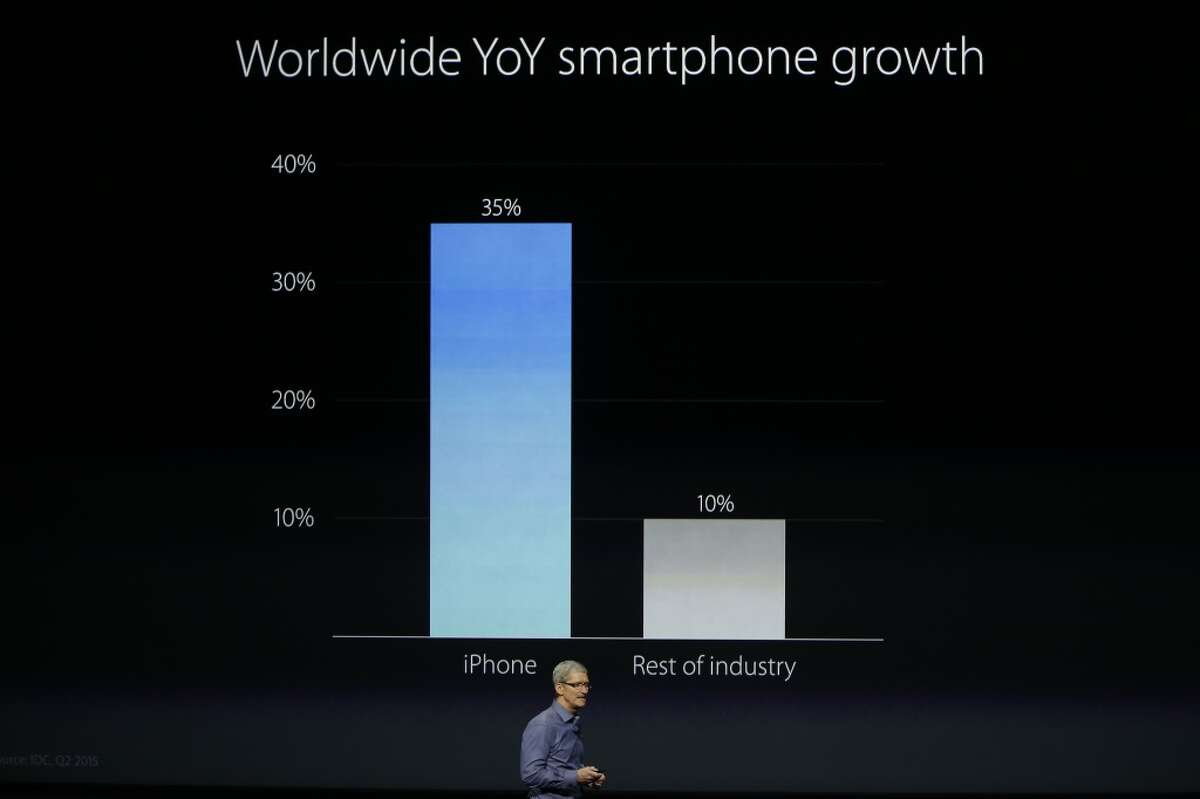 SAN FRANCISCO, CA - SEPTEMBER 9: Apple CEO Tim Cook talks about a sales graphic before indroducing the new iPhone 6s and 6s Plus during a Special Event at Bill Graham Civic Auditorium September 9, 2015 in San Francisco, California. Apple Inc. unveiled latest iterations of its smart phone, forecasted to be the 6S and 6S Plus and announced an update to its Apple TV set-top box. (Photo by Stephen Lam/ Getty Images)