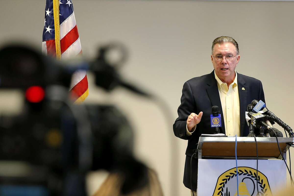 San Bruno Mayor Jim Ruane speaks to the media during a news conference in San Bruno, California, on Wednesday, Sept. 9, 2015.