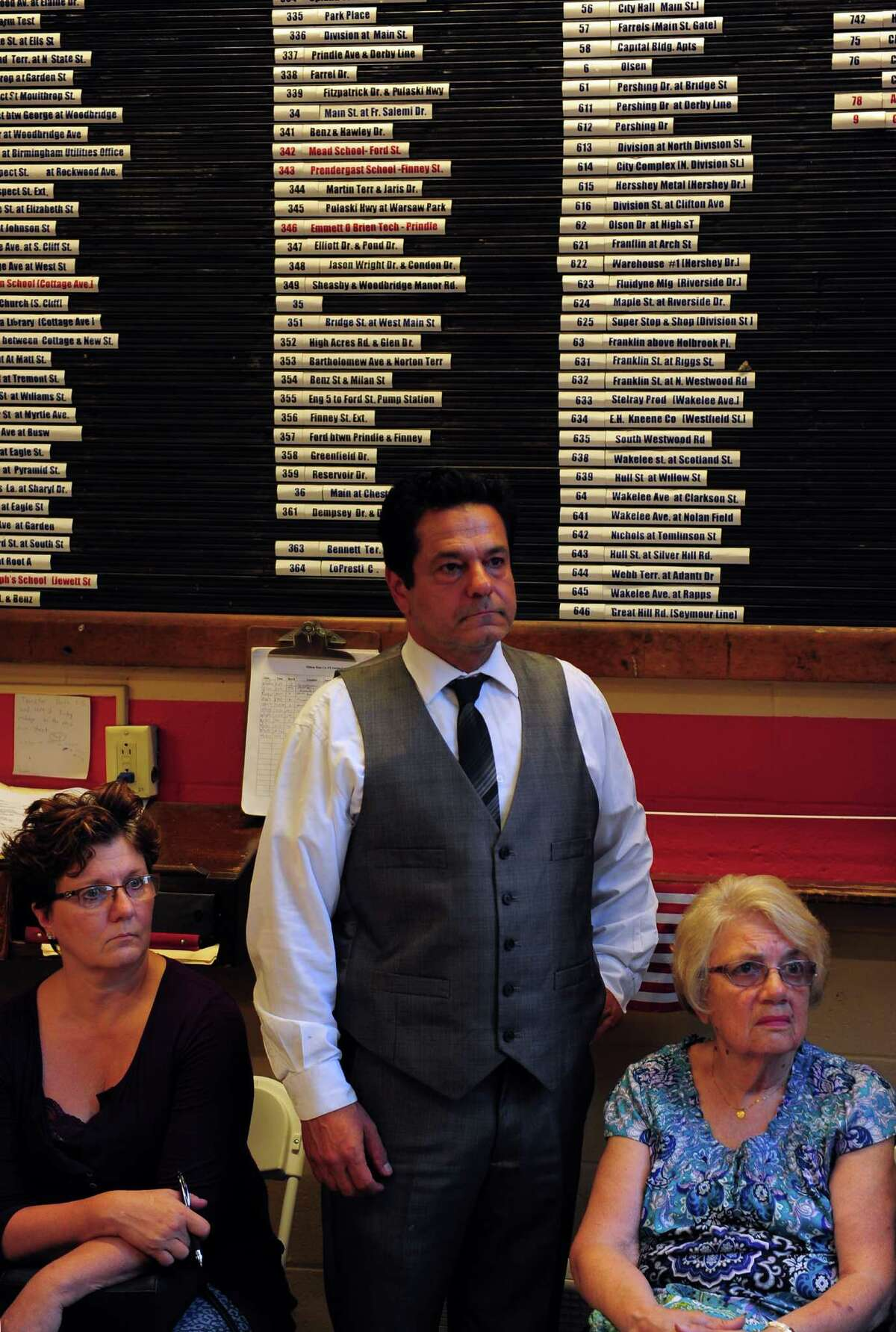 Ansonia Mayor David Cassetti at a Sept. 1 meeting to form block watches in the city's hilltop neighborhoods.