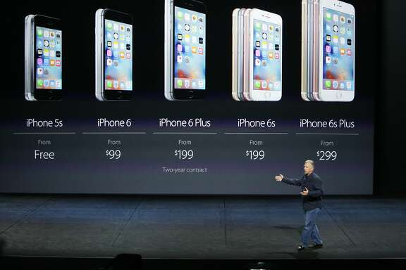 Phil Schiller, senior vice president of Worldwide Marketing at Apple Inc., speaks about the iPhone 6s and iPhone6s Plus at an Apple event at the Bill Graham Civic Auditorium on Wednesday, September 9, 2015 in San Francisco, Calif.