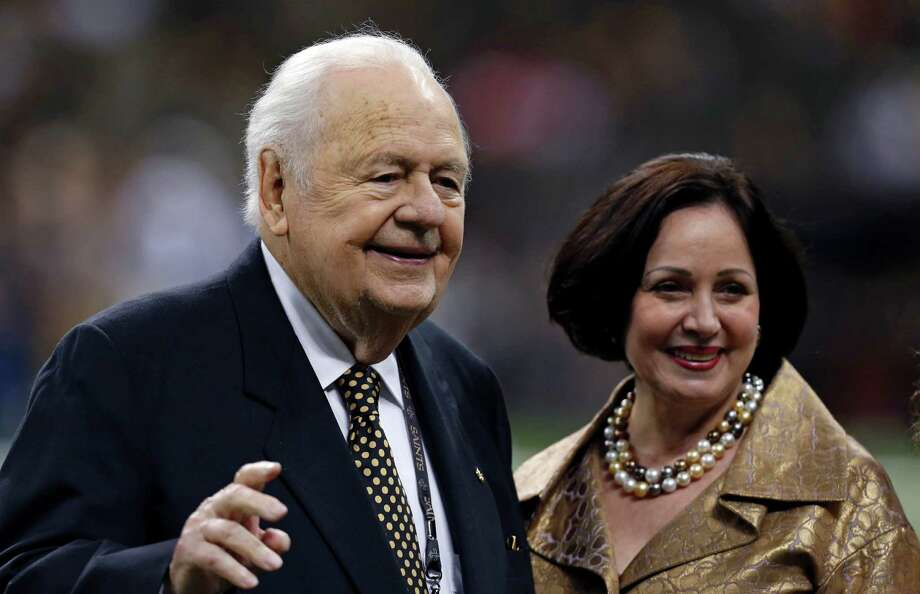 New Orleans Saints and Pelicans owner Tom Benson and his wife, Gayle Benson, walk on the sideline before the Aug. 30 preseason New Orleans Saints game against the Houston Texans. Photo: Jonathan Bachman /Associated Press / FR170615 AP