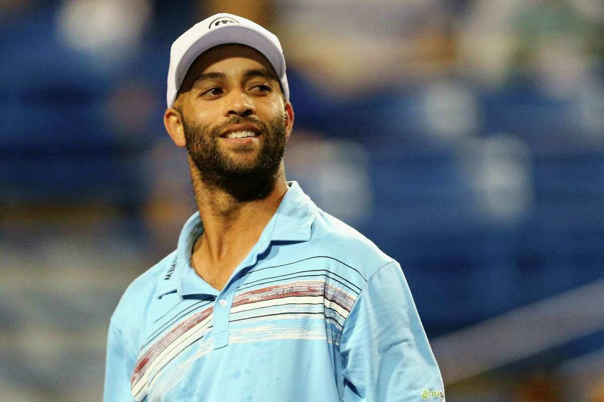 James Blake looks on during his match against Andy Roddick as part of the Men's Legends presented by PowerShares Series on Day 4 of the Connecticut Open at Connecticut Tennis Center at Yale on August 27, 2015 in New Haven, Connecticut.