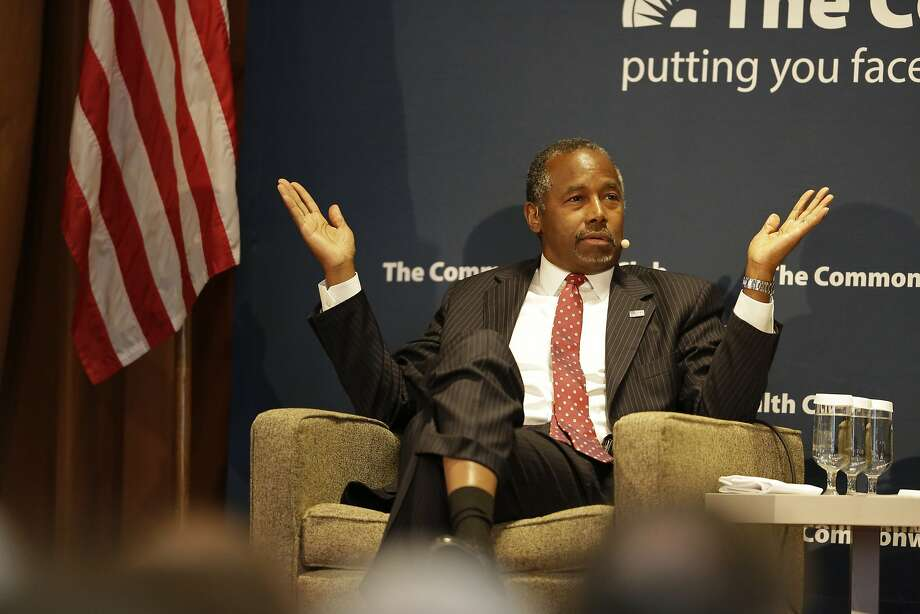 Republican Presidential candidate Dr. Ben Carson during a speech to the Commonwealth Club public affairs forum Sept. 8, 2015, in San Francisco. Photo: Eric Risberg, Associated Press