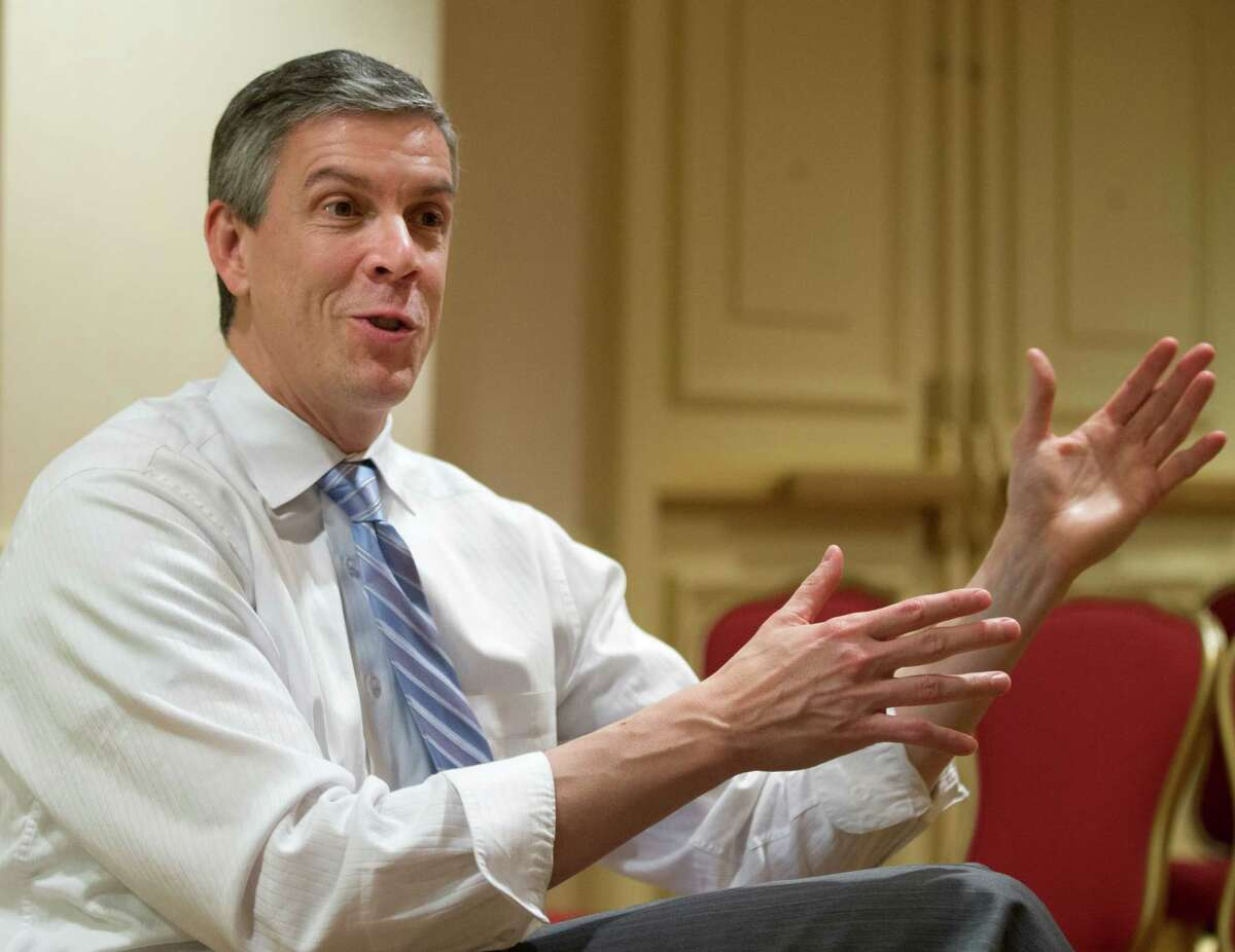 FILE - In this Jan. 17, 2013 file photo, Education Secretary Arne Duncan gestures as speaks during an interview in Washington.