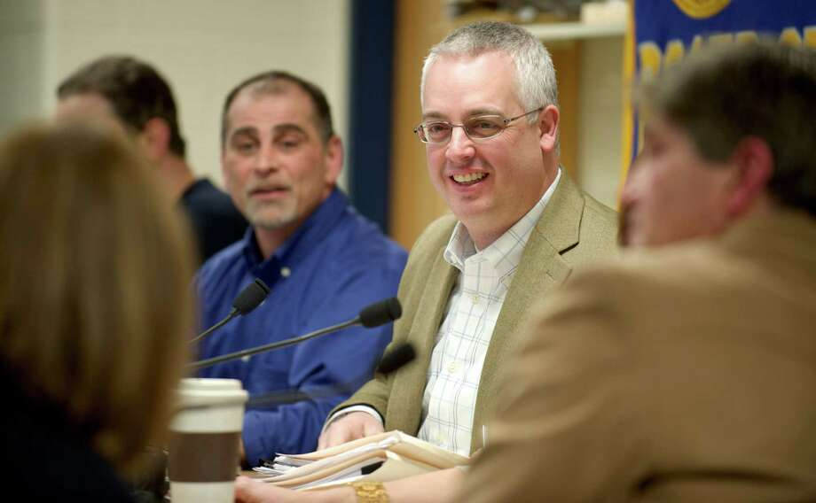 Board of Education Vice-Chairman Paul Checco (in blue) is seeking re-election on the Democratic Party line. Photo: H John Voorhees III / H John Voorhees III / The News-Times Freelance