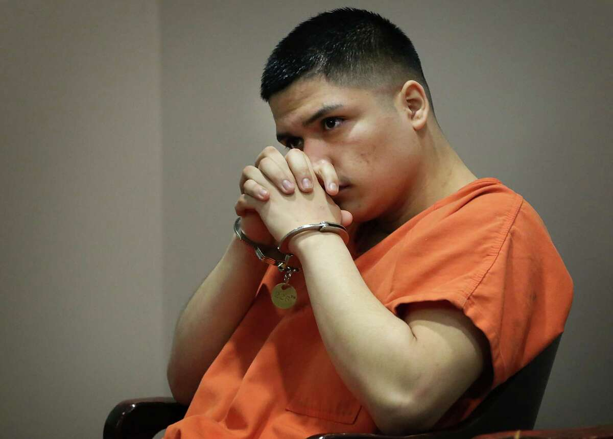 Eduardo Reyes who was charged with murder for the stabbing death of his 17 year-old girlfriend Magen Hernandez, takes the stand on Wednesday, Sept. 9, 2015, in the 226th State District Courtroom during the punishment phase.