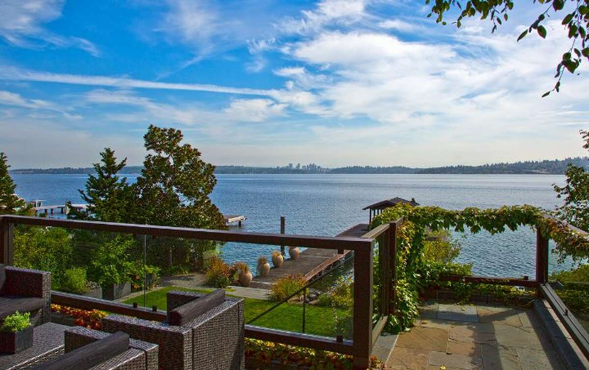 This post-modern industrial styled home at 1000 Lakeside Ave. S in the Leschi neighborhood enjoys stunning views of Lake Washington from just north of the I-90 floating bridge. The 5-bedroom, 4 1/2-bath home is listed for $5,895,000 and includes 6,430 square feet of living space, as well as a hot tub, expansive outdoor decks and an open-air feel throughout its serious interior. See the full listing here.