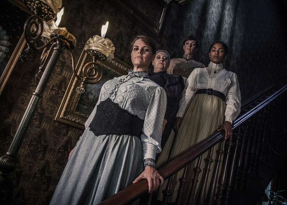 "The cast of Ray of Light Theatre's rock musical ""Lizzie"" includes (from left) Elizabeth Curtis as Lizzie, Jessica Coker as Emma, Taylor Jones as Alice and Melissa Reinertson as Bridget. This modern spin on the legend of Lizzie Borden runs through Oct. 17 at the Victoria Theatre.  Photo by Erik Scanlon Photo: Erik Scanlon"