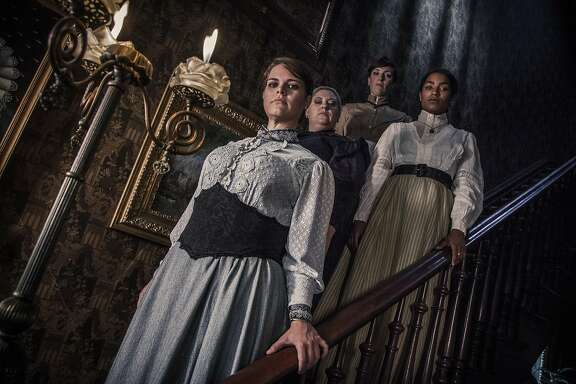 "The cast of Ray of Light Theatre's rock musical ""Lizzie"" includes (from left) Elizabeth Curtis as Lizzie, Jessica Coker as Emma, Taylor Jones as Alice and Melissa Reinertson as Bridget. This modern spin on the legend of Lizzie Borden runs through Oct. 17 at the Victoria Theatre.  Photo by Erik Scanlon"