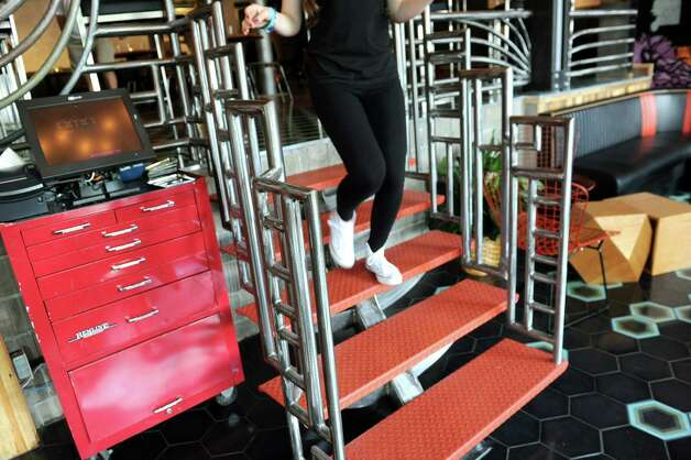 Custom made stairs and railings on Friday, Sept. 4, 2015, at Ama Cocina in Albany, N.Y. (Cindy Schultz / Times Union) Photo: Cindy Schultz / 00033218A