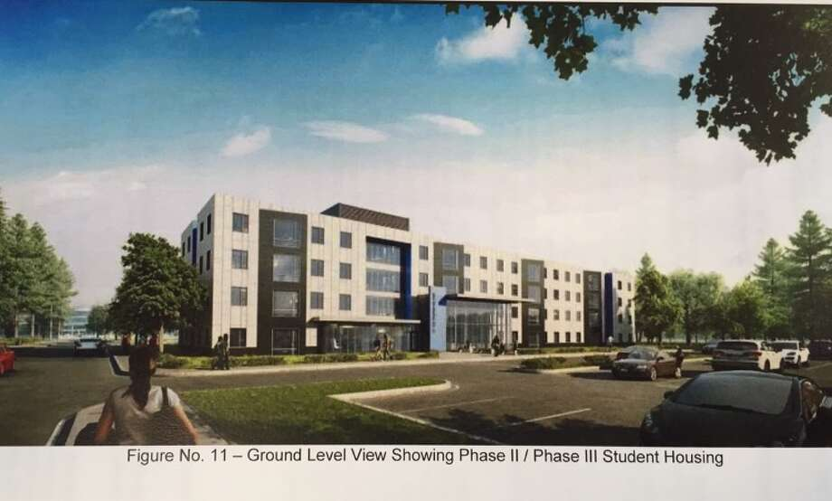 A rendering of what the proposed SUNY Poly student housing on Fuller Road near Loughlin Street could look like. There are 400 units proposed for that area in phases 2 and 3 of the project. (SUNY Polytechnic Institute)