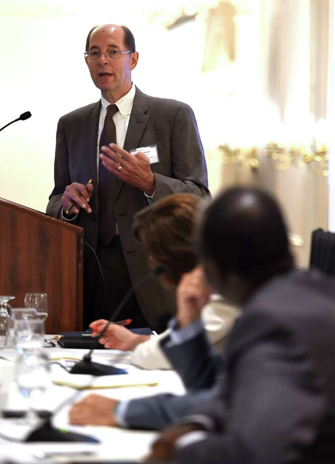 Daniel Colacino, vice president, Rose+Kiernan Insurance moderates a panel of insurance executives at the Desmond Wednesday morning Sept. 9, 2015 in Colonie, N.Y. as they discuss changes to health care insurance this year.   (Skip Dickstein/Times Union) Photo: SKIP DICKSTEIN / 00033282A