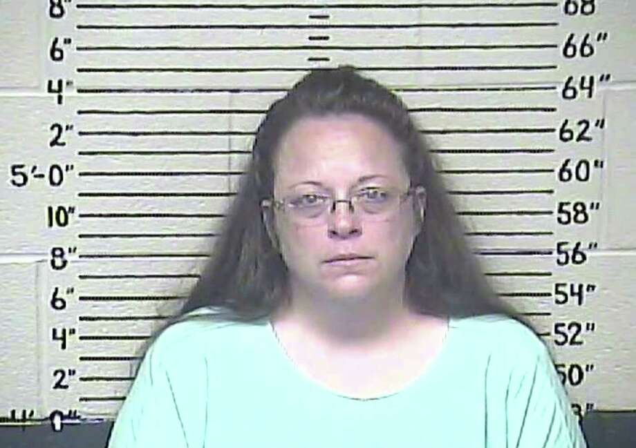 A Carter County Detention Center image shows Kim Davis as she goes to jail for refusing to issue marriage licenses to gay partners. Readers comment on her actions. Photo: Handout /McClatchy-Tribune News Service / Carter County Detention Center