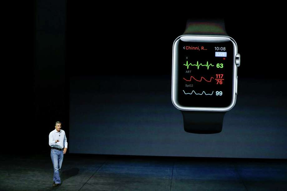 AirStrip co-founder Dr. Cameron Powell talks about health monitoring options on the Apple Watch during the Apple event Wednesday at the Bill Graham Civic Auditorium in San Francisco. Photo: Eric Risberg /Associated Press / AP