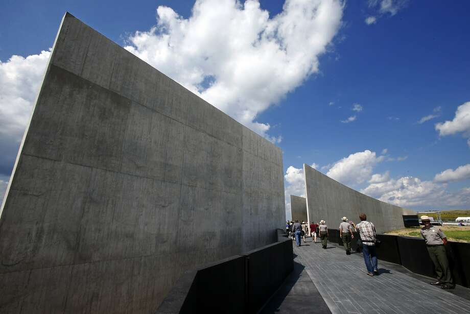 Members of the media get a preview of the the Flight 93 National Memorial visitors center complex in Shanksville, Pa., Wednesday, Sept. 9, 2015. The visitors center will be formally dedicated and open to the public on Sept. 10, 2015. Photo: Gene J. Puskar, Associated Press