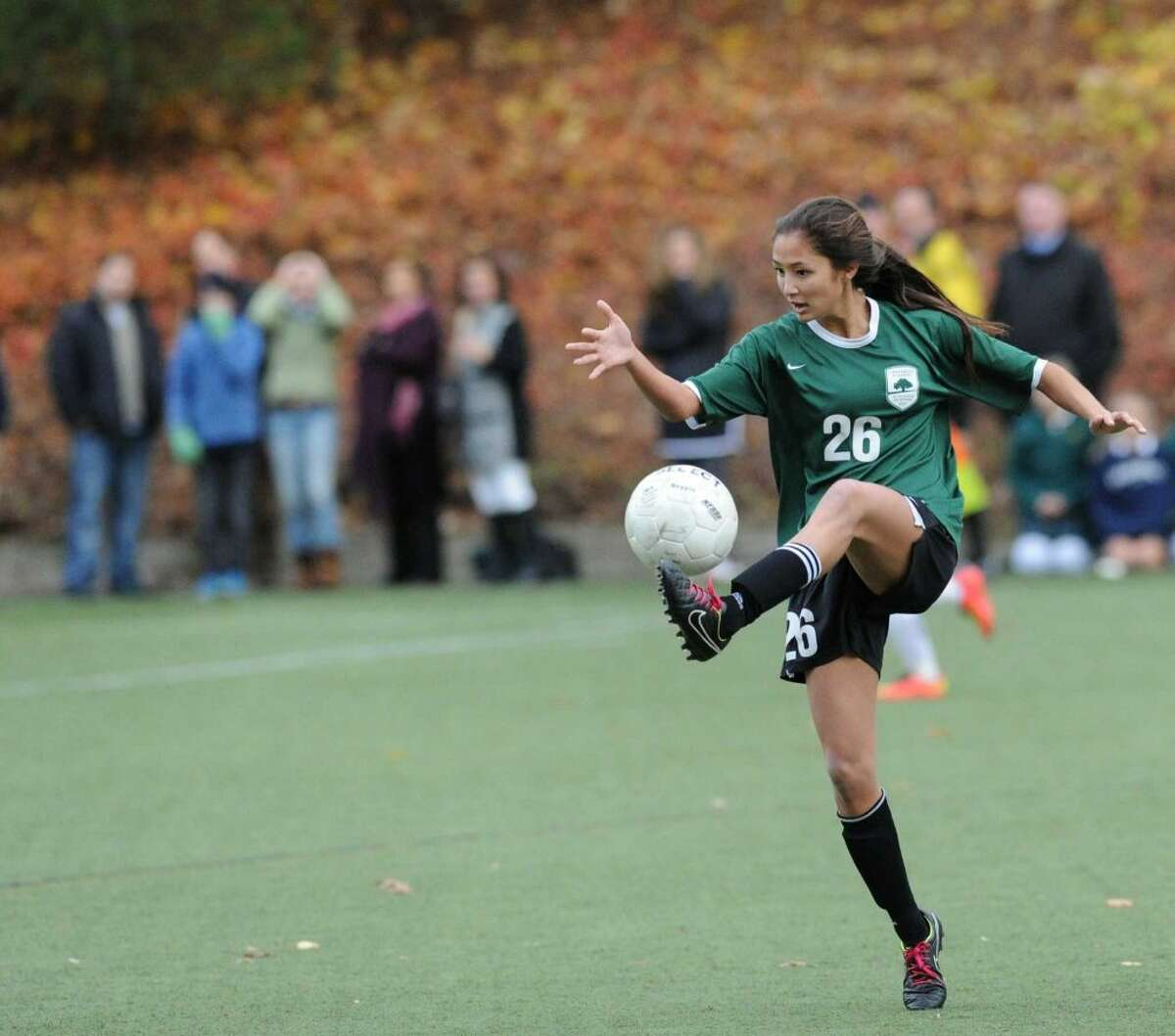 Senior forward Maggie Basta is one of the captains of the Greenwich Academy soccer team.