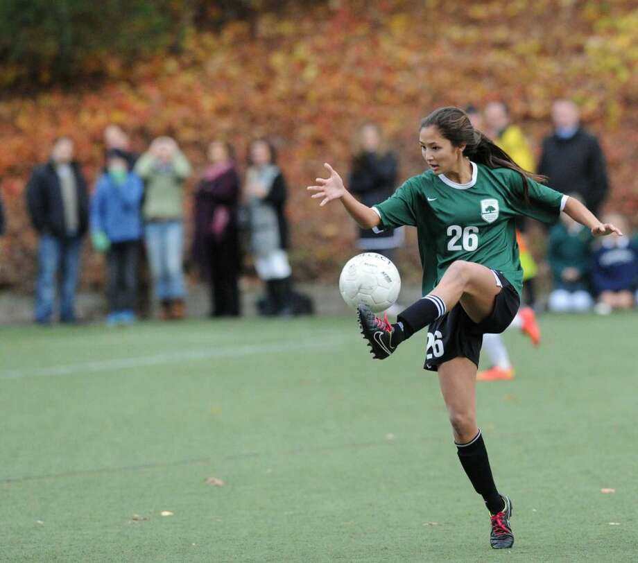 Senior forward Maggie Basta is one of the captains of the Greenwich Academy soccer team. Photo: Bob Luckey /Hearst Connecticut Media