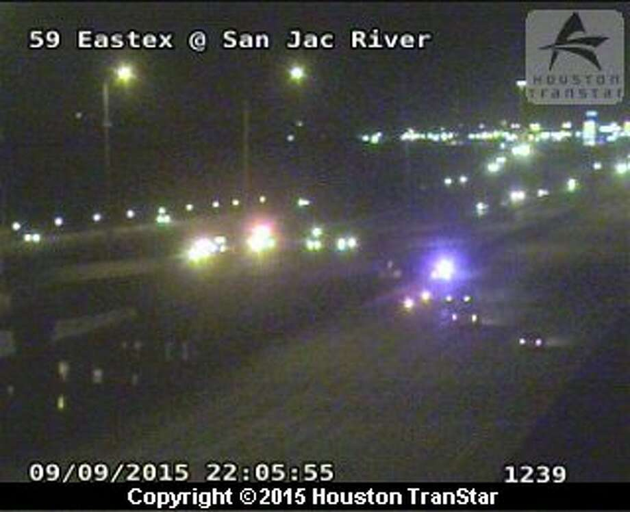 According to reports, a man jumped into the San Jacinto River after fleeing the scene of a car accident along the Eastex Freeway on Wednesday night. Photo: TranStar