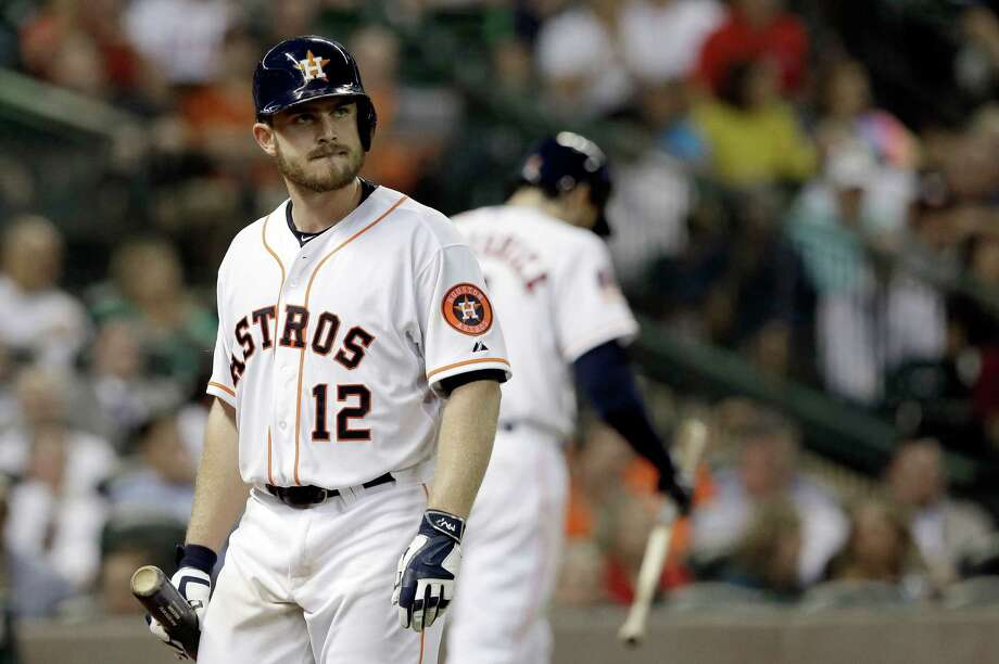 Houston Astros' Max Stassi heads to the dugout after striking out in a baseball game against the Seattle Mariners Tuesday, Sept. 1, 2015, in Houston. (AP Photo/Pat Sullivan) Photo: Pat Sullivan, STF / AP