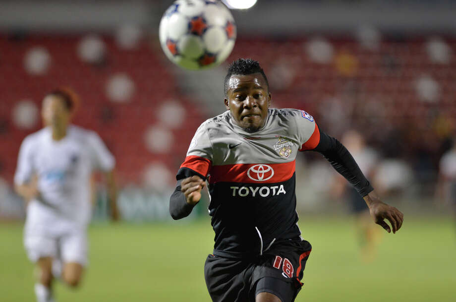 Scorpions Marvin Chavez outruns a Carolina defender for the ball during their NASL match at Toyota Field. Photo: Express-News File Photo