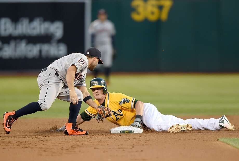 Sept. 9: Astros 11, A's 5   OAKLAND, CA - SEPTEMBER 09:  Mark Canha #20 of the Oakland Athletics steals second base ahead of the throw to Jose Altuve #27 of the Houston Astros in the bottom of the first inning at O.co Coliseum on September 9, 2015 in Oakland, California.  (Photo by Thearon W. Henderson/Getty Images) Photo: Thearon W. Henderson, Getty Images