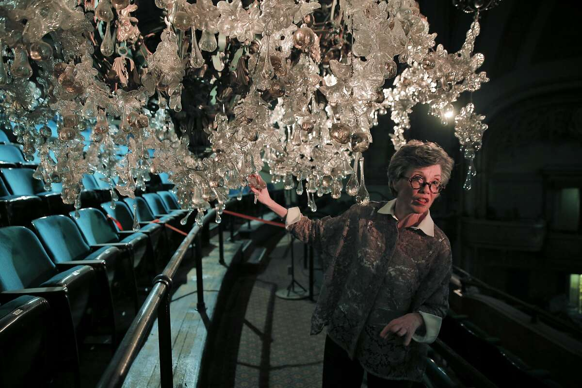 Carole Shorenstein Hays examines the chandelier at the Curran Theater which she owns and is in the process of having completely renovated on Wednesday, September 9, 2015 in San Francisco, Calif.