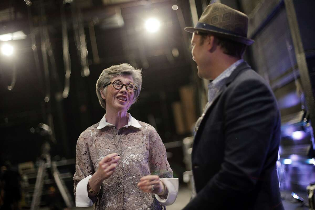 Carole Shorenstein Hays chats with Greg Backstrom at the Curran Theater which she owns and is in the process of having renovated on Wednesday, September 9, 2015 in San Francisco, Calif.