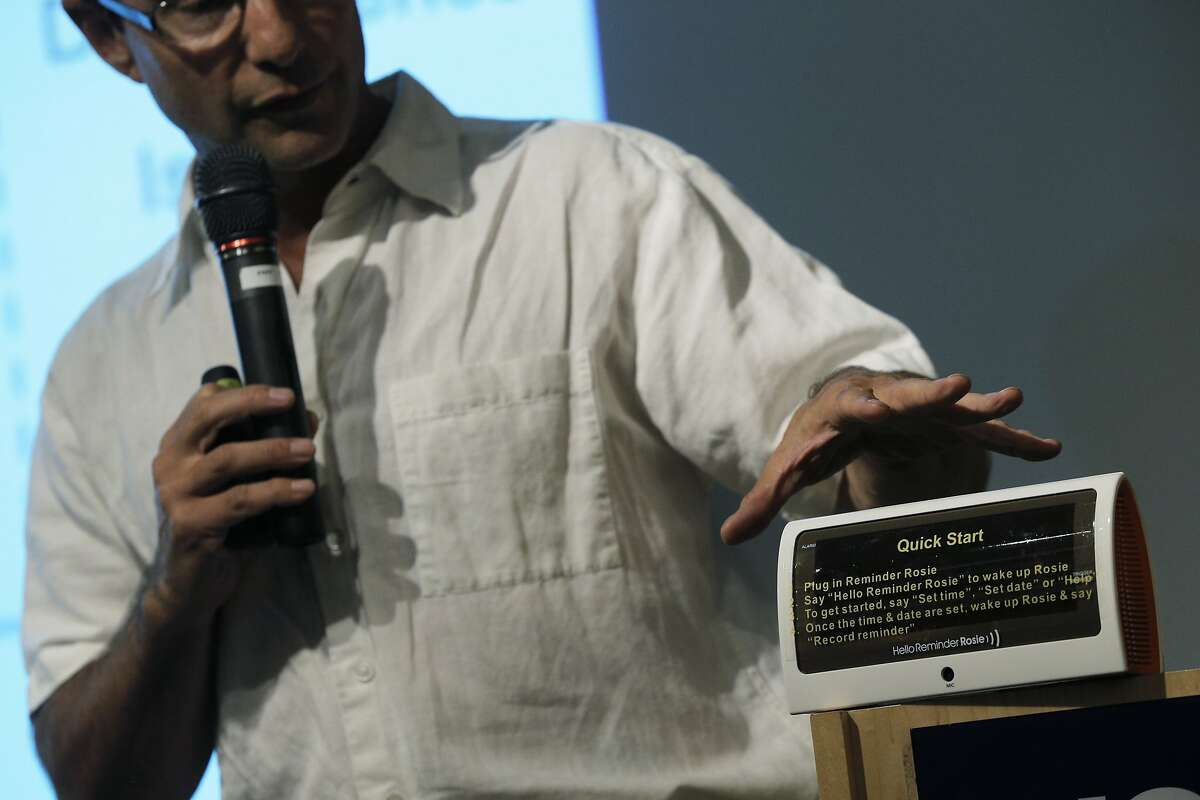 Val Ornoy presents Reminder Rosie, a smart clock designed to keep elder users up to date on medications and alerts at an Aging 2.0 event in San Francisco, Calif., where entrepreneurs pitched elder care innovation ideas at UCSF on Wednesday, September 9, 2015.