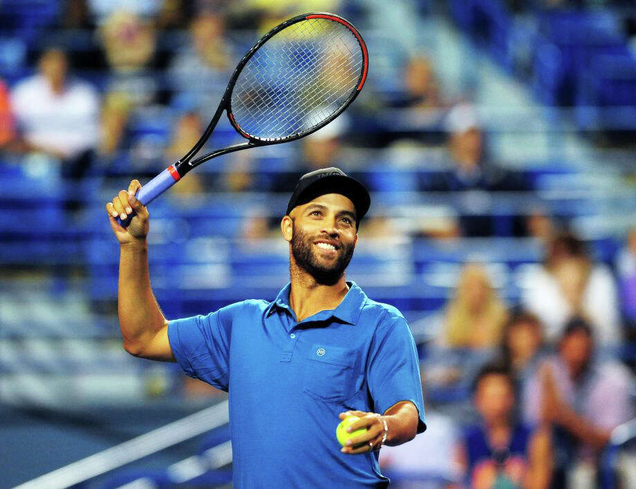 James Blake shown during an exhibition match against Andy Roddick last month at the Connecticut Open in New Haven. Photo: File Photo / File Photo / Fairfield Citizen