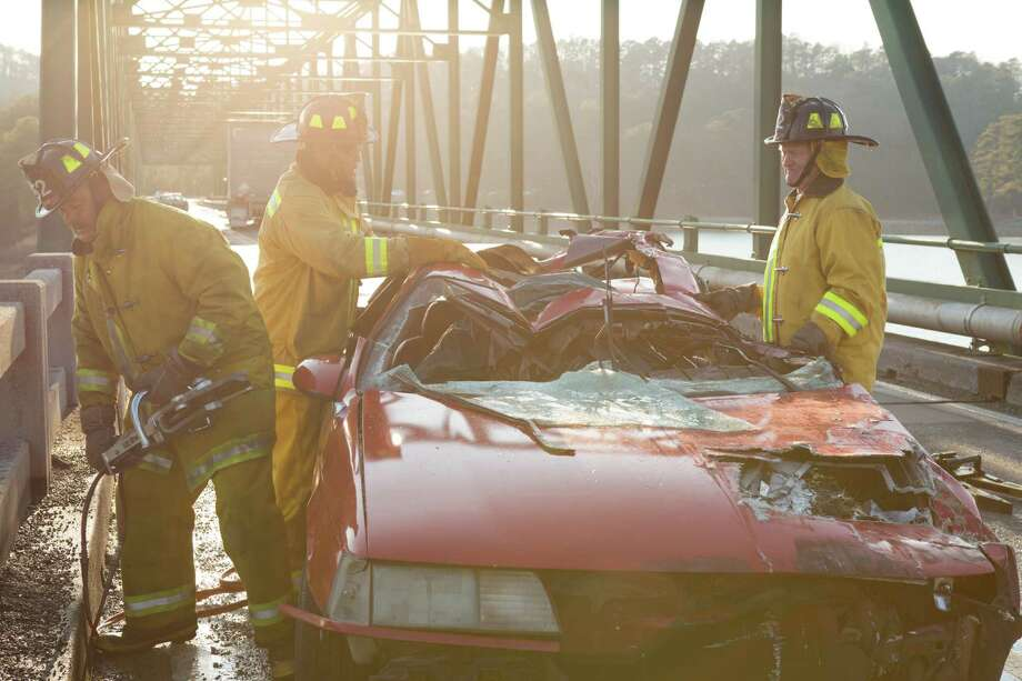 """Filmmakers rammed an 18-wheeler into a car four times to re-create the accident in """"90 Minutes in Heaven."""" Photo: Quantrell Colbert / Georgia Film Fund 35, LLC, All rights reserved 2015"""