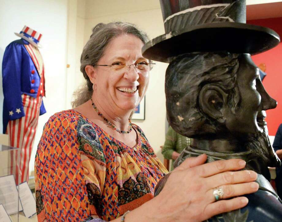 "Helen Painter of Conway, Ark., the great-great-great-great granddaughter of Samuel Wilson, the model for the iconic Uncle Sam figure, tours the Uncle Sam exhibit at the Rensselaer County Historical Society Thursday Sept. 10, 2015 in Troy, NY.  ""He's everyone else's uncle but he's my  great-great-great-great grandfather,"" Painter said.  (John Carl D'Annibale / Times Union) Photo: John Carl D'Annibale / 00033313A"