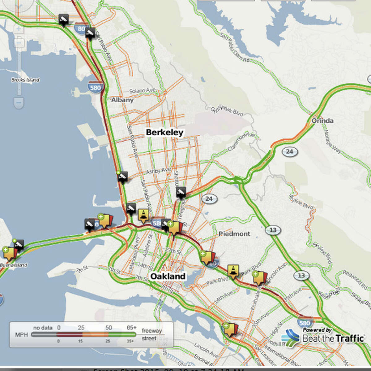 As of 9:30 am traffic was backed up on I-80 westbound from past the 580 merge, and on Westbound 580 to Highway 13.